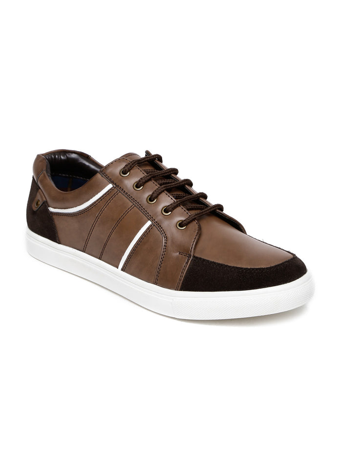 San Frissco Men Brown Solid Regular Sneakers