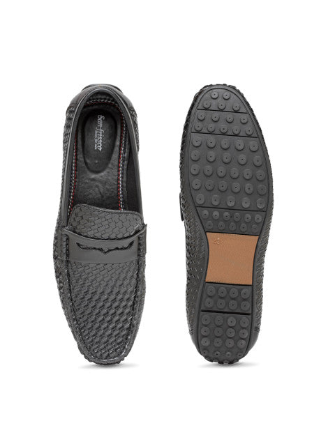 San Frissco Men's Black Basket Weave Loafers