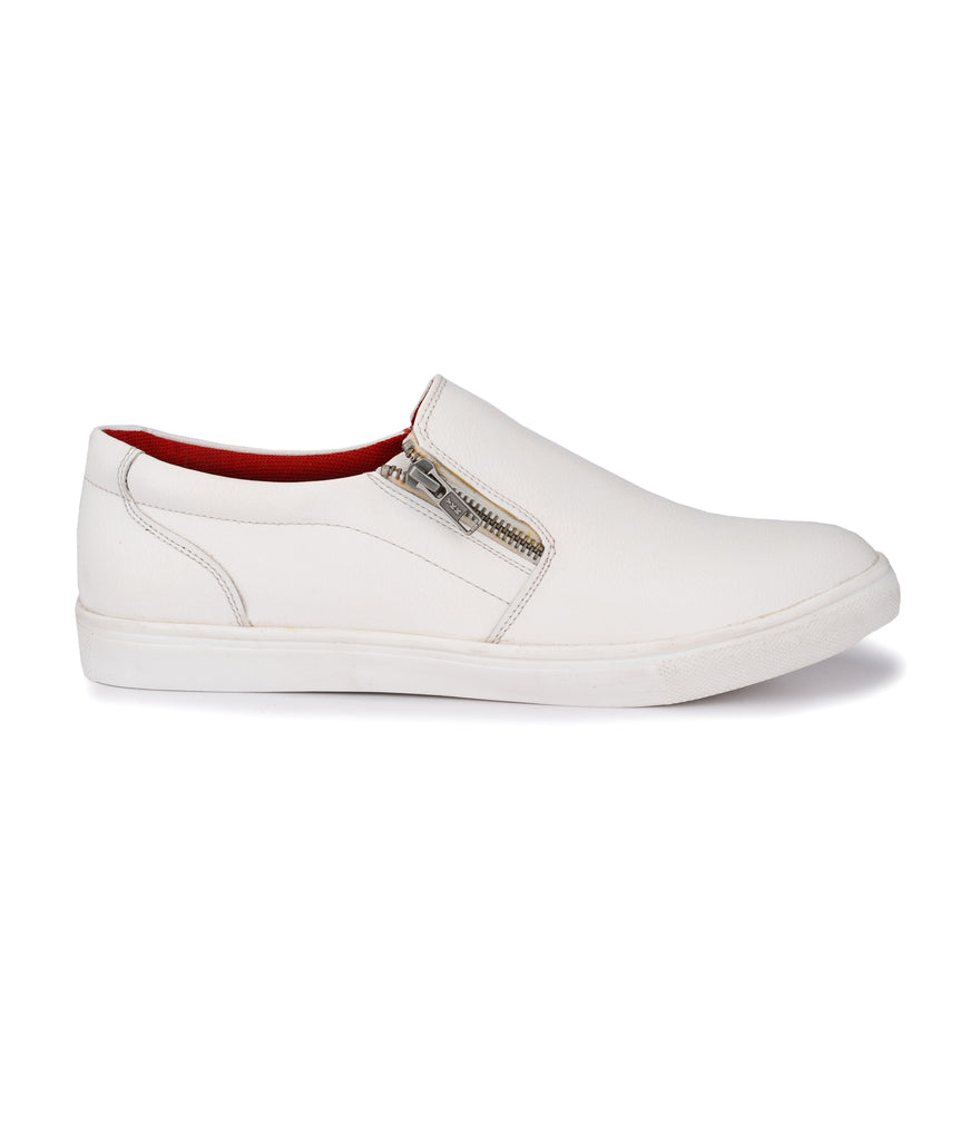 San Frissco MEn's White Sneakers With Zip