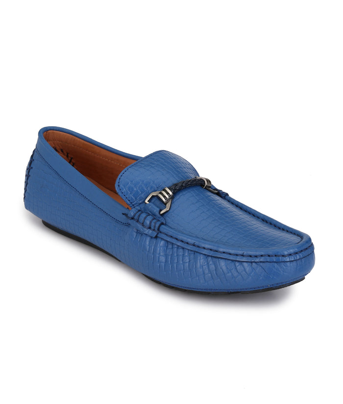 San Frissco Men's Blue Leather Loafers