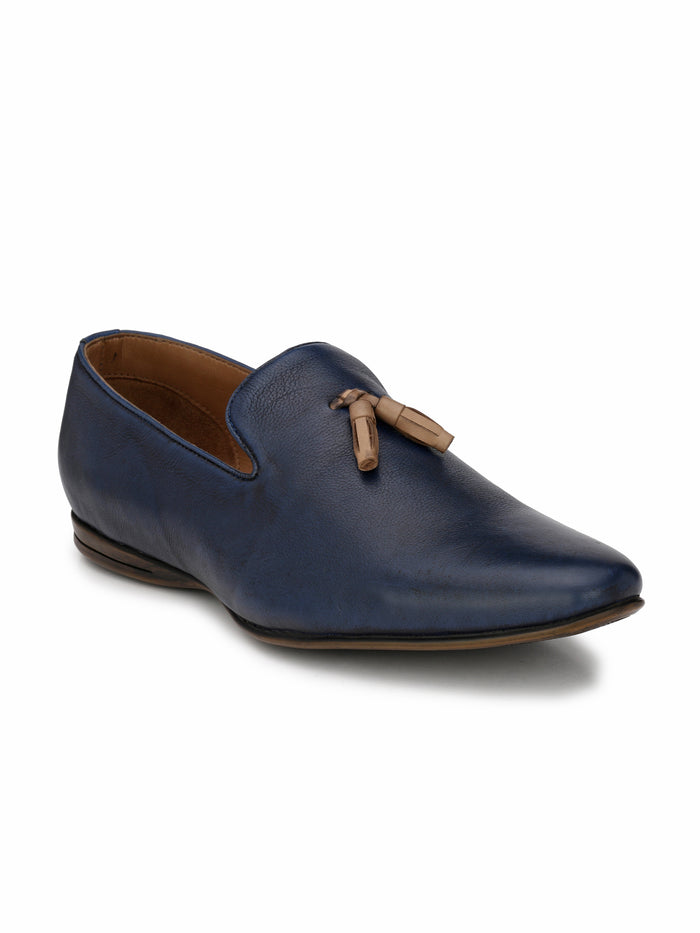 San Frissco Men's Blue Slip-Ons With Tussel