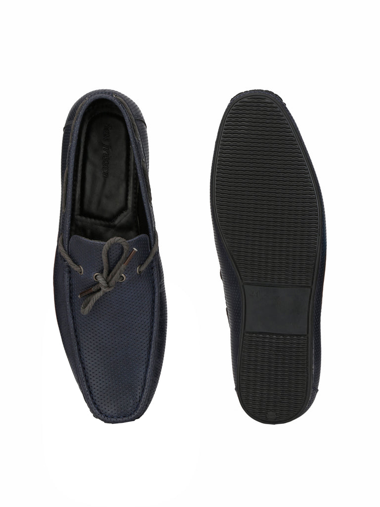 San Frissco Men's Blue Knotted Loafers