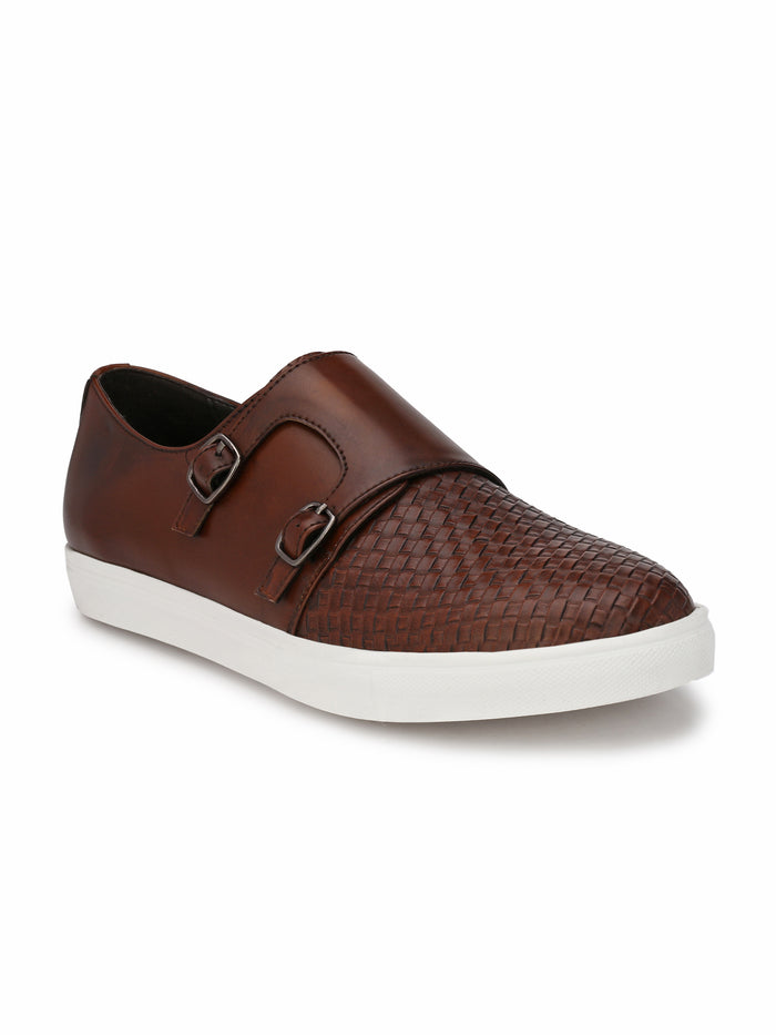 San Frissco Men's Ice Brown Double Monk Basketweave Sneakers
