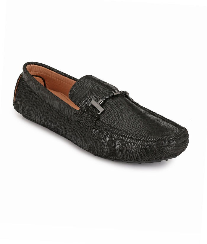 San Frissco Men's Black Leather Loafers