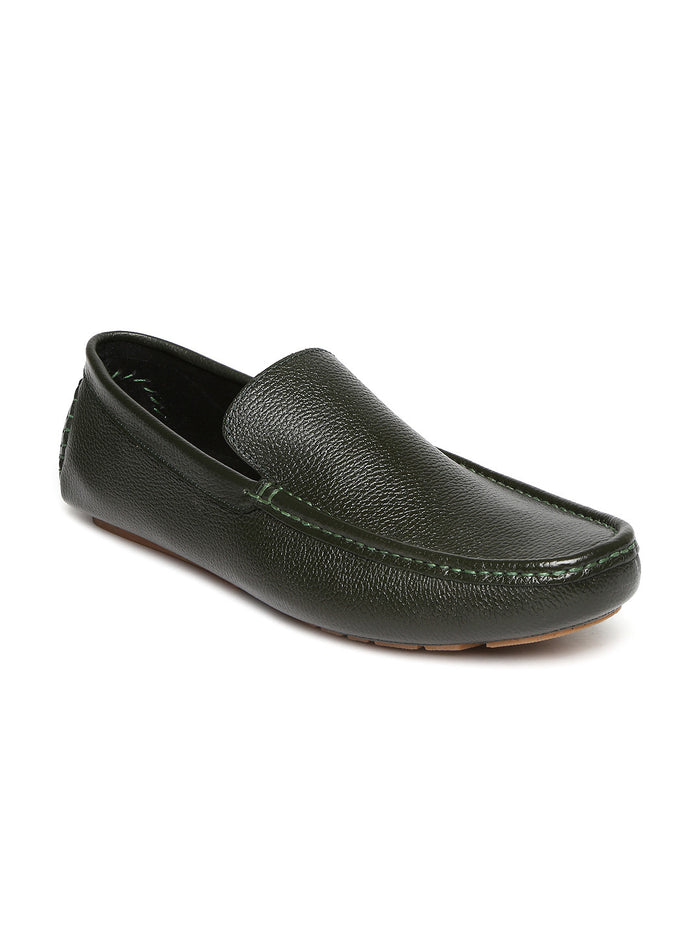 San Frissco Men Green Leather Loafers