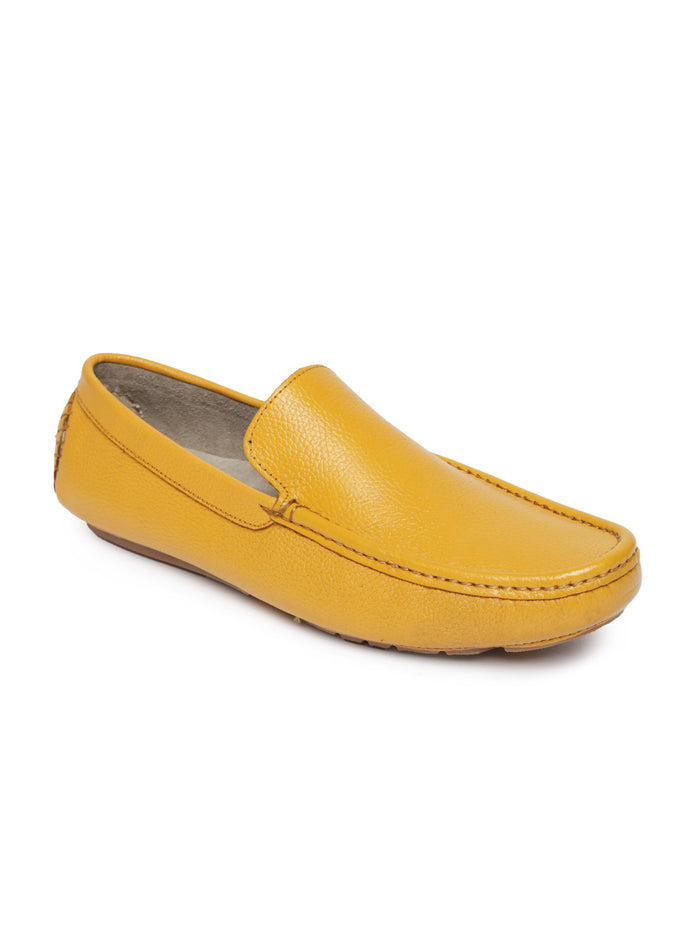 San Frissco Men Mustard Yellow Leather Loafers