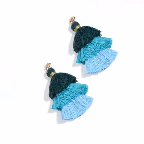 Bleu Coral Tassel Earrings