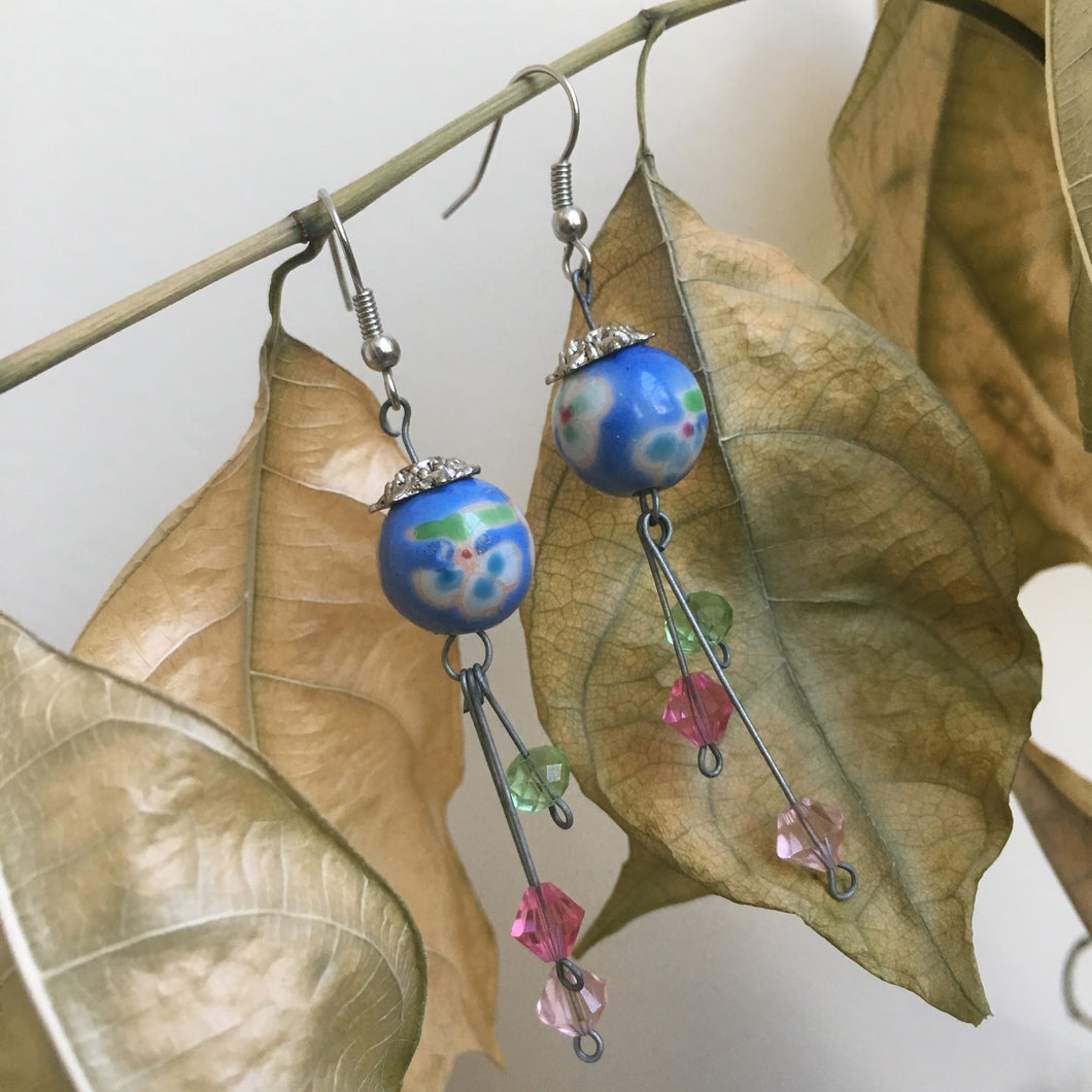 Chinese porcelain bead earrings