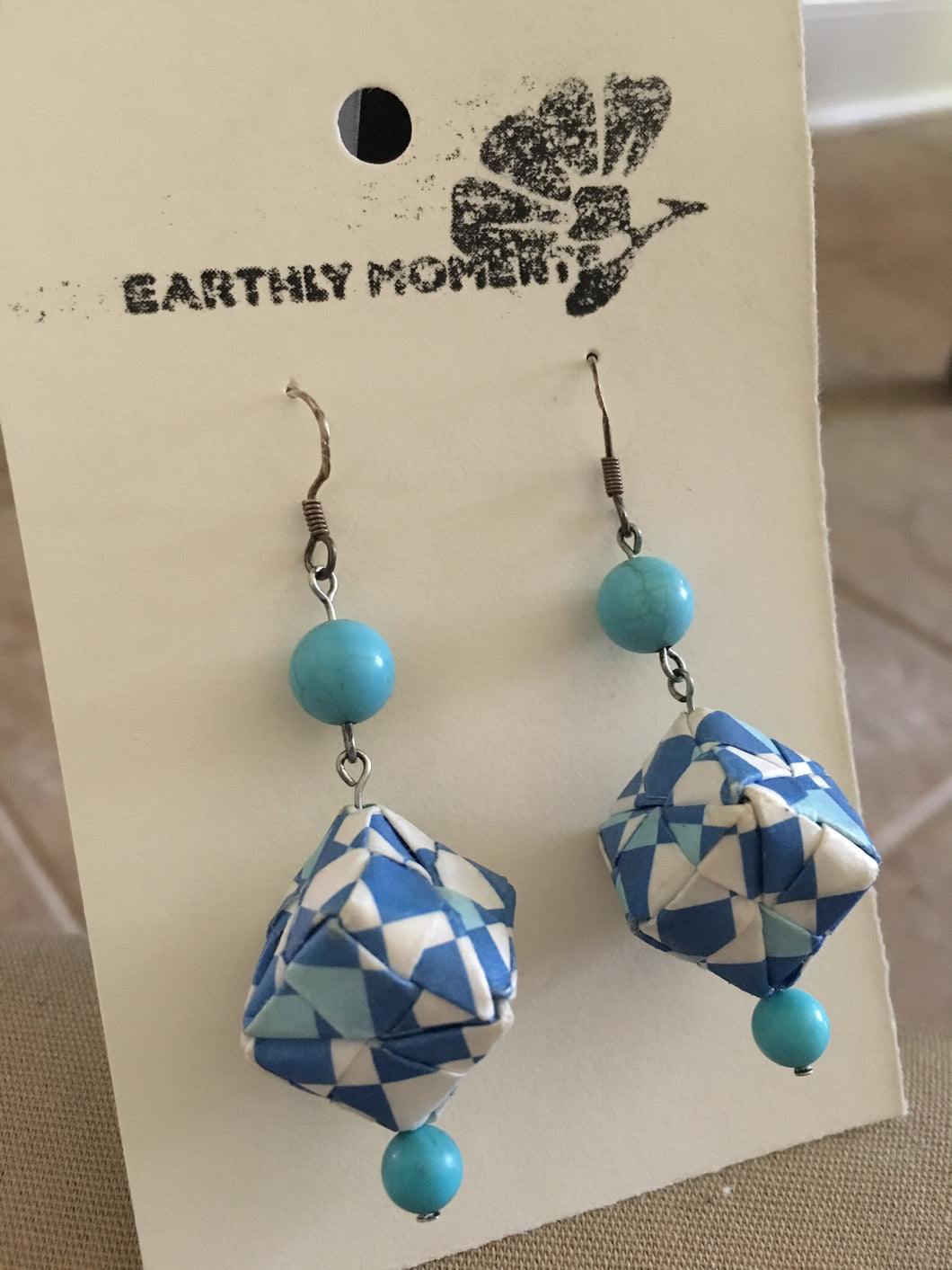 Blue turquoise and cube earrings