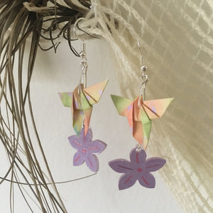 Origami butterfly and flower earrings