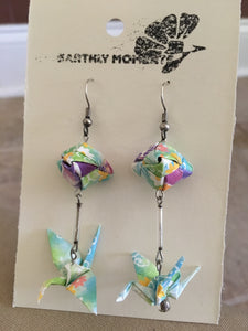 Pastel hued crane earrings