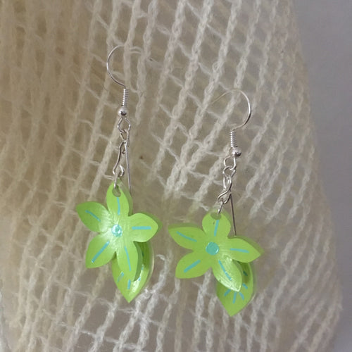 Green flower and leaf earring