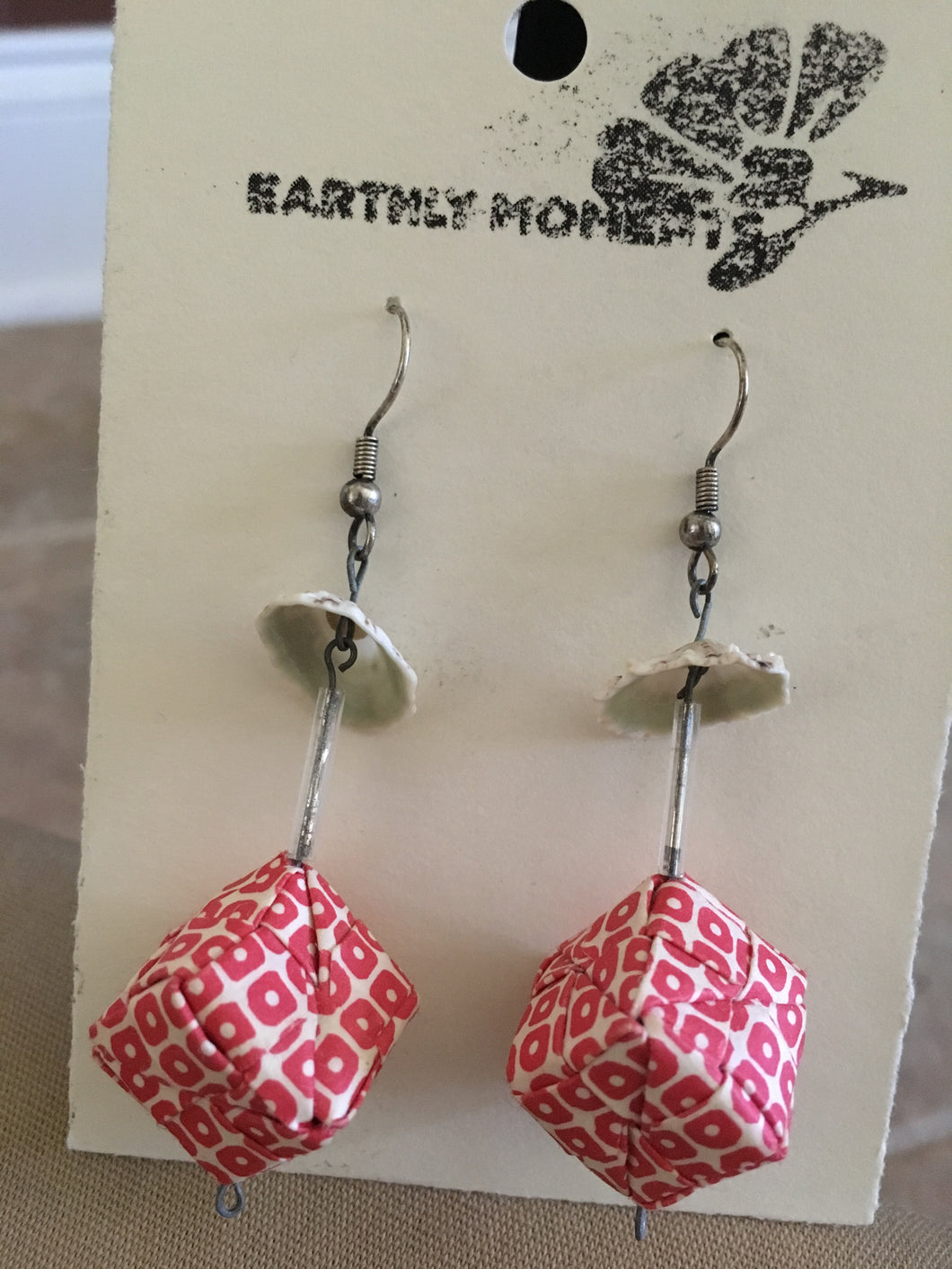 Seashell origami cube earrings