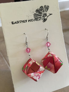 Red and pink cube earrings