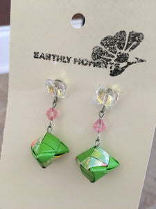 Handmade washi paper origami earrings with Swarovski butterflies