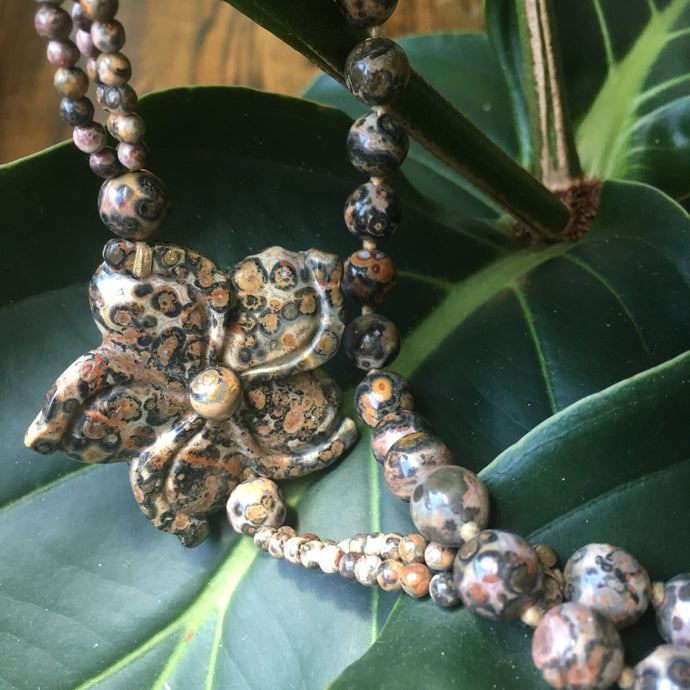 Leopard granite necklace
