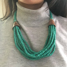 Green beaded shell necklace