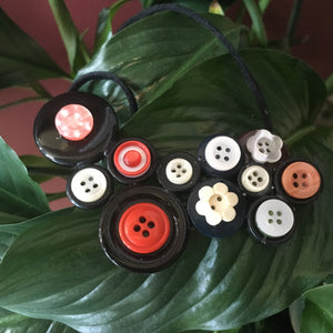 Red button necklace