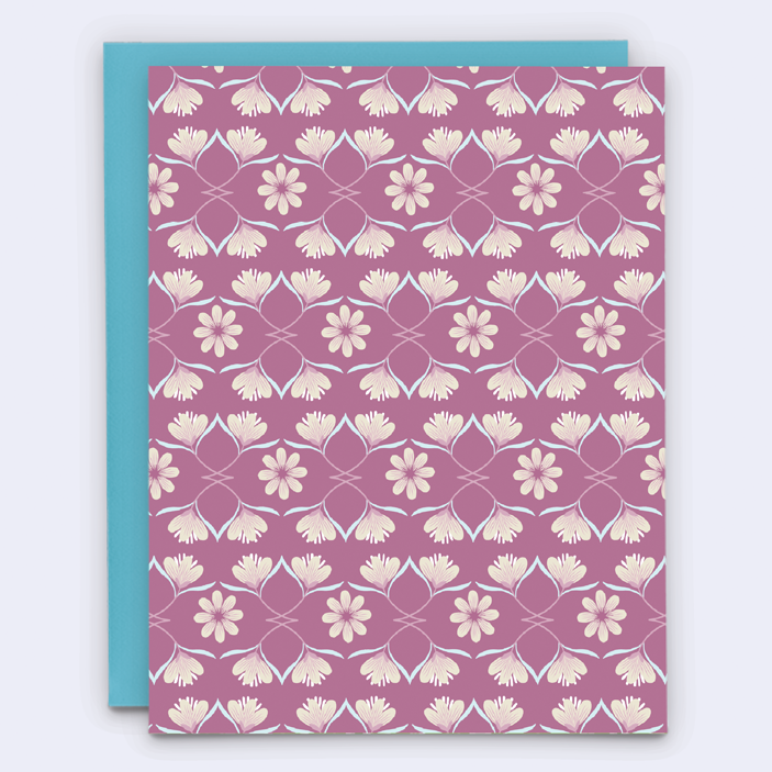 Pink and burgundy patterned floral greeting card