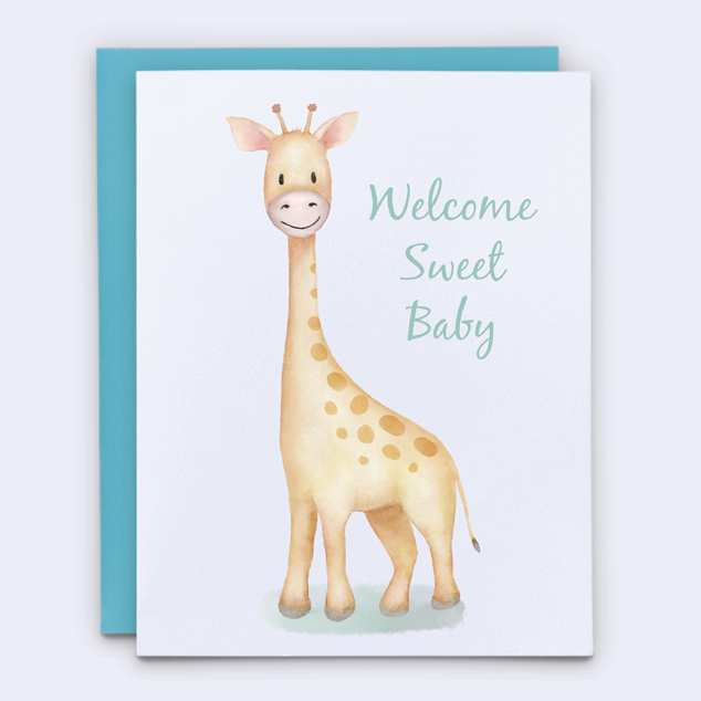 Welcome baby giraffe congratulations card