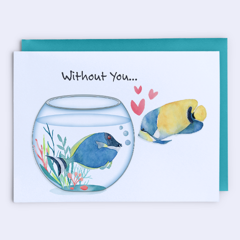 "Miss You Card, Relationship Card ""Fish Out of Water"""