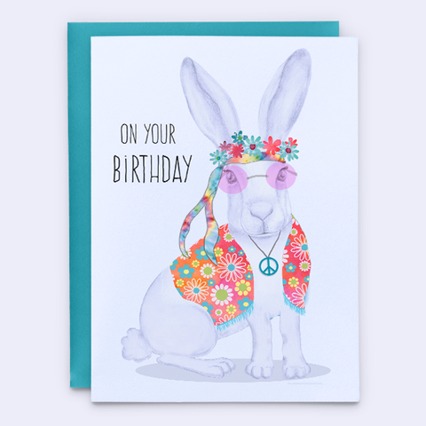 Hippie Birthday Card, Flowers in your HARE
