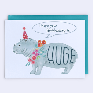 HUGE Hippo Birthday Card