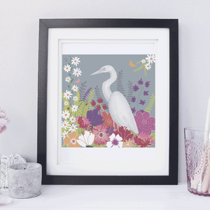 Egret Floral Children's Room Art
