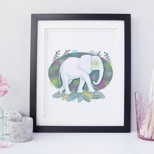 Elephant Floral Children's Room Art