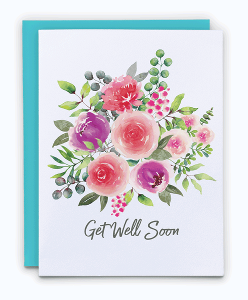 Get Well Soon Watercolor Floral Card
