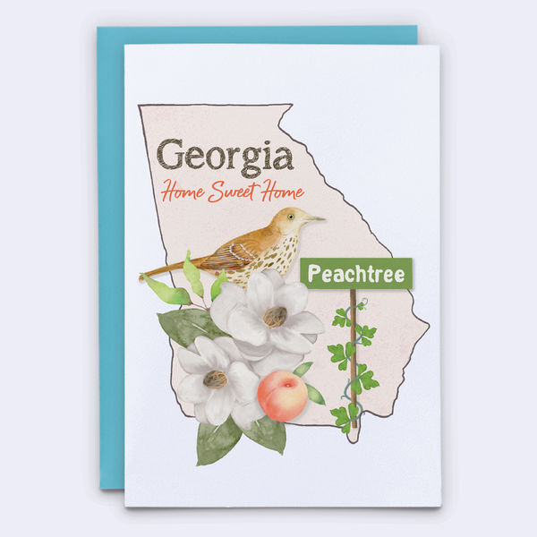 State of Georgia greeting card. Southern Magnolia card. The peach state card.