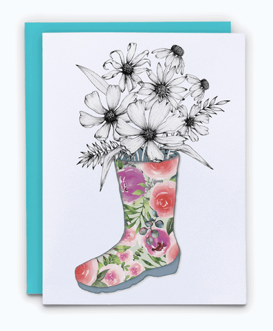 Floral greeting card. Encouraging illustration of rain boot with wild flowers.