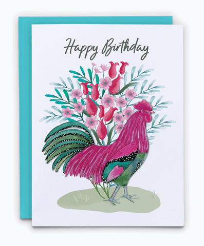 Colorful happy birthday spring chicken greeting card