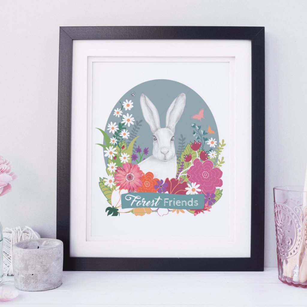Bunny in Flowers Children's Room Art