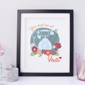 "Floral Wall Art ""You Had Me At Hello"""
