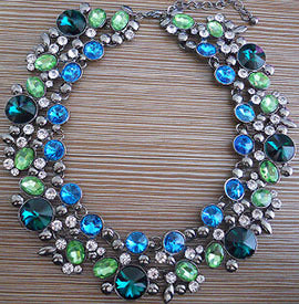 india fair necklace up bead blue multi close green square jewelry imports