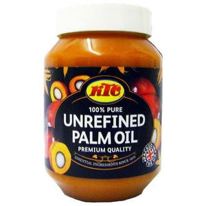 KTC Unrefined Palm oil 500ml is a bleached Palm Oil is a deep orange semi-solid fat with a buttery consistency and an odour reminiscent of violets. Very Natural