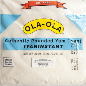 OLA- OLA pounded yam is s processed dehydrated yam flour; freshness preserved by BHT & sodium sulfide. Very healthy and high quality which makes it the best.