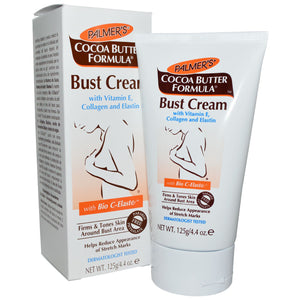 Palmers Cocoa Butter Bust Firming Cream 4.4oz contains a unique blend of pure Cocoa Butter, Shea Butter, and Vitamin E that maximize moisturization.