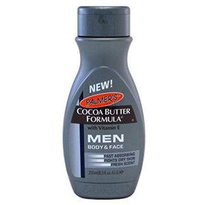 Palmers Cocoa Butter Men Body&Face Lotion 8.5oz with a unique blend of pure Cocoa Butter, Vitamin E; Fast Absorbing; Fights Dry Skin; Fresh Scent all day long.