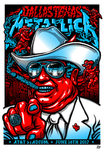 Metallica 2017 AT&T Stadium Dallas Texas Poster by Ames Bros