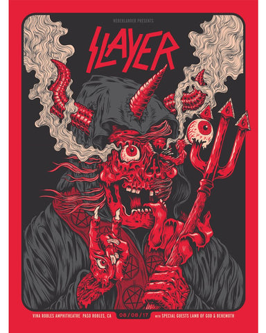 SLAYER 2017  Vina Robles Amphitheater, Paso Robles California Poster by Jason Abraham Smith