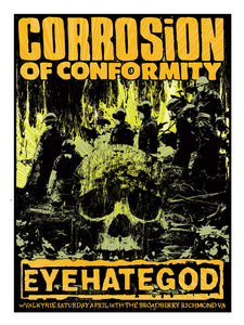 CORROSION OF CONFORMITY/EYEHATEGOD/VALKYRIE RVA GIGPOSTER by Brian Mercer