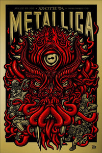Metallica 2017 AT&T Seattle, WA Century Link Field Poster (Super Gold Edition) by Ames Bros