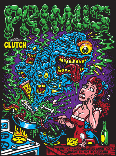 Primus with Clutch 2017 Charolette Amphitheater, NC Poster Jimbo Phillips