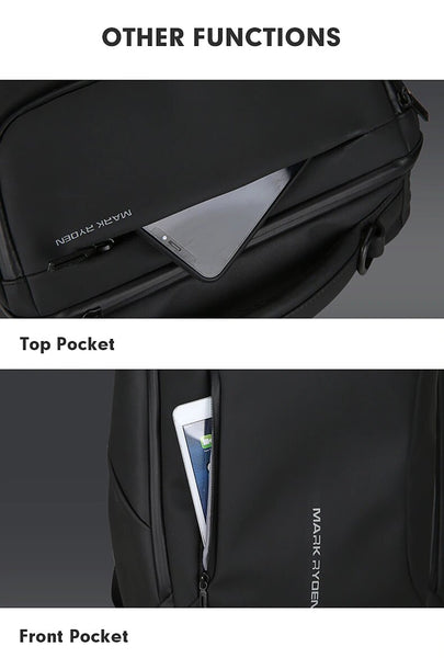 HTB1 QI7bjzuK1Rjy0Fpq6yEpFXaB grande - Mark Ryden 2019 New Anti-thief Fashion Men Backpack Multifunctional Waterproof 15.6 inch Laptop Bag Man USB Charging Travel Bag