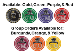 Graduation Party Packages Available in Gold and Black, Red, Blue, and Green.  Bulk orders may be made for Burgundy, Orange, and Yellos