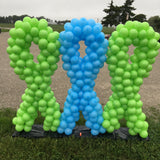 Custom ribbons in lime green and pale blue