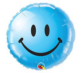 "Smiley Face Blue LOL Emoji Wink 18"" Foil Balloon"