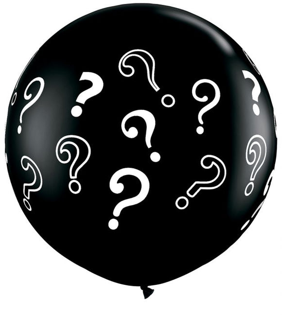 Gender Reveal Baby Shower Balloon Giant Latex Black With Question Marks